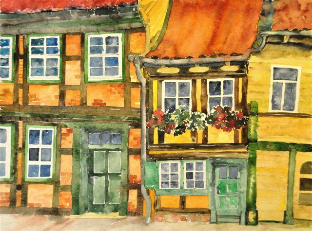 Kleinste Haus in Wernigerode als Aquarell Bild Martina Dost